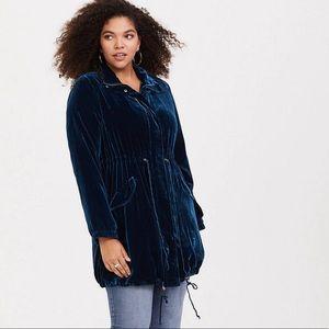 Torrid Teal Velvet Anorak Jacket Size 2